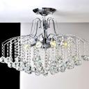 Chrome Cascade Ceiling Lighting Contemporary Faceted Crystal Ball LED Flush Mount Light