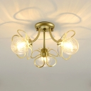 Petal Swirl Glass Semi Flush Light Fixture Nordic 1/3 Heads Black/Gold Ceiling Light for Corridor