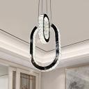 Black Oval Pendant Lighting Fixture Modern LED Crystal Hanging Light Kit for Living Room