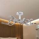 Modern Twist Crystal Semi Flush LED Semi Flush Mount Ceiling Fixture in Chrome for Bedroom, White/Natural Light