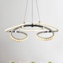 Simple Twist Crystal Chandelier Lighting LED Suspension Pendant Light in Chrome for Living Room, White/Warm Light