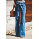 Ladies' Mid Rise Bow Tie Waist Full Length Slim Fit Plain Flared Jeans