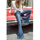 Amazing Blue Mid Rise Bleach Frayed Cuffs Full Length Fitted Flared Jeans for Cute Girls
