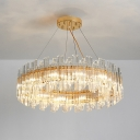 8/12 Lights Living Room Chandelier Gold Pendant Lamp with Drum Crystal Shade