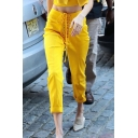 Yellow Fashion High Waist Lace Up Slim Fit Ankle Length Straight Pants for Girls