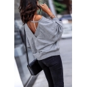 Womens Sexy V-Back Long Sleeve Plain Casual Pullover Sweatshirt