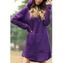 Womens Popular Solid Color Long Sleeve Curved Hem Drawstring Hoodie Dress with Pocket