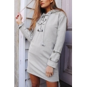 Womens Stylish Gray Plain Lace Up Front Casual Pullover Hoodie Mini Dress