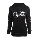 Couple Matching QUEEN KING Crown Print Long Sleeve Casual Black Pullover Hoodie