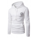 Mens Fashionable Letter R Applique Chest Long Sleeve Casual Drawstring Hoodie with Pocket