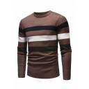 Mens Classic Striped Pattern Crew Neck Long Sleeve Slim Fit Casual Pullover Sweater
