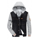 Mens Fashionable Color Block Long Sleeve Button Down Denim Patch Casual Hooded Jacket Outdoor Coat