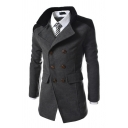 Winter's Warm Stand Collar Double Breasted Woolen Business Overcoat Mens Solid Color Pea Coat
