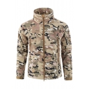 New Camouflage Printed Long Sleeve High Collar Zipper Embellished Loose Outdoor Windbreaker Coat