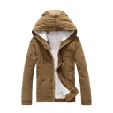 Mens Popular Solid Color Long Sleeve Zip Up Casual Thick Hooded Jacket Coat