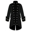 Hot Popular Color Block Stand Collar Long Sleeve Double Breasted Longline Steampunk Coat