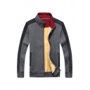 Mens Popular JP Letter Embroidery Striped Long Sleeve Stand Collar Zip Up Gray Casual Fitted Wool Jacket