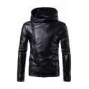 Mens Popular Plain Black PU Leather Long Sleeve Side Zip Placket Cool Hooded Jacket