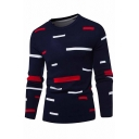 Mens Popular Geo Pattern Long Sleeve Navy Blue Knitted Pullover Sweater