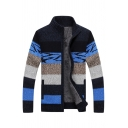 Mens Fashion Color Block Striped Long Sleeve Stand Collar Zip Up Casual Knit Cardigan Coat