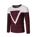 Mens Casual Color Block Triangle Printed Long Sleeve Leisure Knitted Pullover Sweater