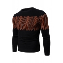 Mens Creative Lines Printed Long Sleeve Round Neck Slim Fit Casual Pullover Sweater
