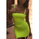 Ladies Sexy Plain Fluorescent Green Chic Spaghetti Straps Ruched Drawstring Front Mini Club Dress