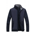 Mens Casual Navy Blue High Neck Ribbed Knit Long Sleeve Zip Up Thick Cardigan Coat with Pocket