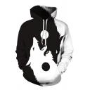 3D Yin Yang Wolves Printed Drawstring Hood Long Sleeve Casual Sports Hoodie