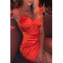 Womens Sexy Plain Lace Up Front Spaghetti Straps Fitted Satin Mini Bustier Slip Dress