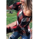 New Fashion Checked Pattern One Shoulder Long Sleeve Casual T-Shirt Top