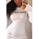 White Letter ROCKMORE Printed Long Sleeve Round Neck Fitted Mini Dress for Women