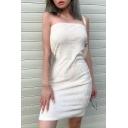 Womens Sexy Plain White Strapless Soft Fuzzy Mini Tube Dress for Nightclub