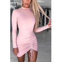 Womens Simple Plain Pink Long Sleeve Drawstring Ruched Hem Mini Party Fitted Dress