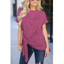 Women's Casual Plain Short Sleeve Side Tied Space Dye Asymmetric Tee Top