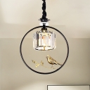 Black/Gold Metal Ring Lighting Pendant with Bird Country 1 Light Ceiling Light with Cylinder Crystal Block Lampshade
