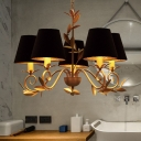 5 Lights Pendant Lamp Country Tapered Fabric Chandelier Light Fixture in Black for Dining Room