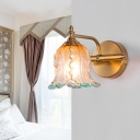 Textured Glass Scalloped Vanity Lighting Classic 1/2/3 Light Bathroom Wall Mounted Lamp in Gold for Bathroom