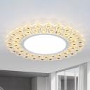 White Scalloped Edge Ceiling Light Fixture Modern LED Clear Crystal Flush Light in Warm/White Light for Indoor, 14