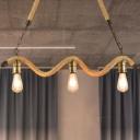 Wavy Design Island Pendant Light Retro Stylish Rope 3 Heads Beige Hanging Hanging Island Light with Bare Bulb