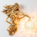Metal and Crystal Dome Wall Sconce Vintage 1 Light Wall Light Fixture with White/Gold Girl Design