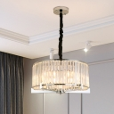 Clear Crystal Block Drum Chandelier Lamp Traditional 5/6 Heads Dining Room Hanging Light Fixture