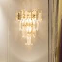 4 Tiers Crystal Block Sconce Light Fixture Modern 3 Heads Gold Wall Mounted Light