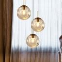 Globe Dining Room Hanging Lamp Kit Smoke Gray Dimpled Glass 1 Head Minimalist Pendant Light