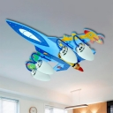 4 Heads Airplane Ceiling Fixture Nursing Room Boys Room Opal Glass Semi Flushmount in Chrome