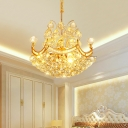 Indoor Chandelier Lighting with Crystal Ball 4 Lights Ceiling Pendant Light in Gold for Dining Room