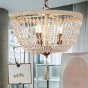 Rustic Bowl Chandelier Lamp Clear Crystal Bead 3 Lights Hanging Pendant Light in Brown