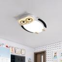 White/Pink/Blue Owl Flush Ceiling Light Cartoon Metal LED Integrated Flush Mount Lamp for Children