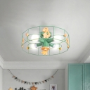 Drum Cage Shade Semi Mount Lighting Cartoon Metal 4 Lights Ceiling Lamp with Dinosaur Decoration in Green Finish