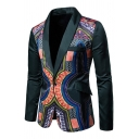 Mens Unique Tribal Print Shawl Collar Long Sleeve Single Button Fitted Tuxedo Jacket Blazer